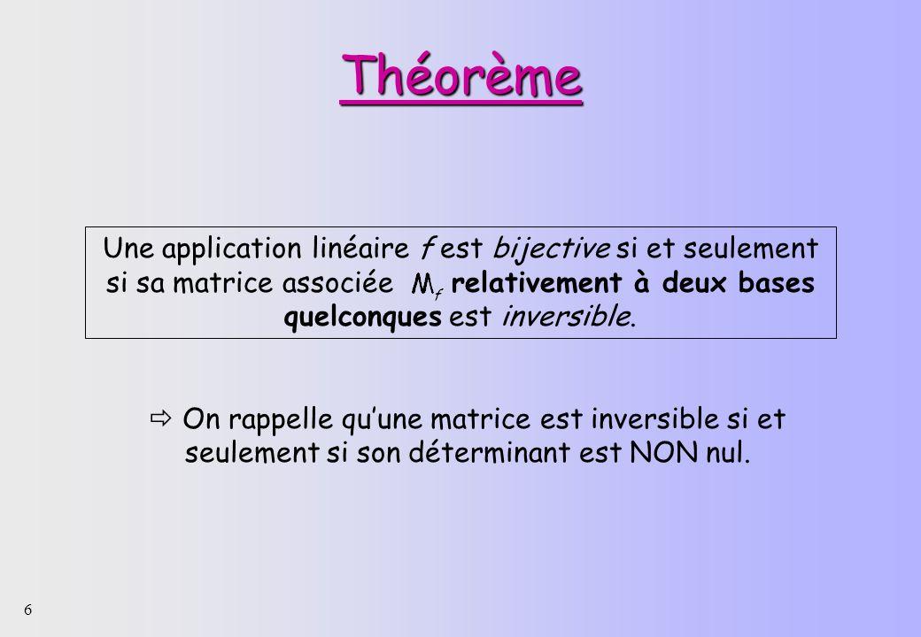 Théorème Une application linéaire f est bijective si et seulement si sa matrice associée relativement à deux bases quelconques est inversible.