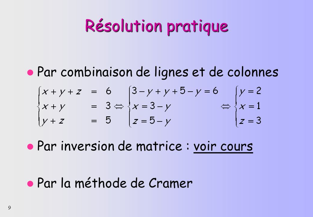 Résolution pratique Par combinaison de lignes et de colonnes