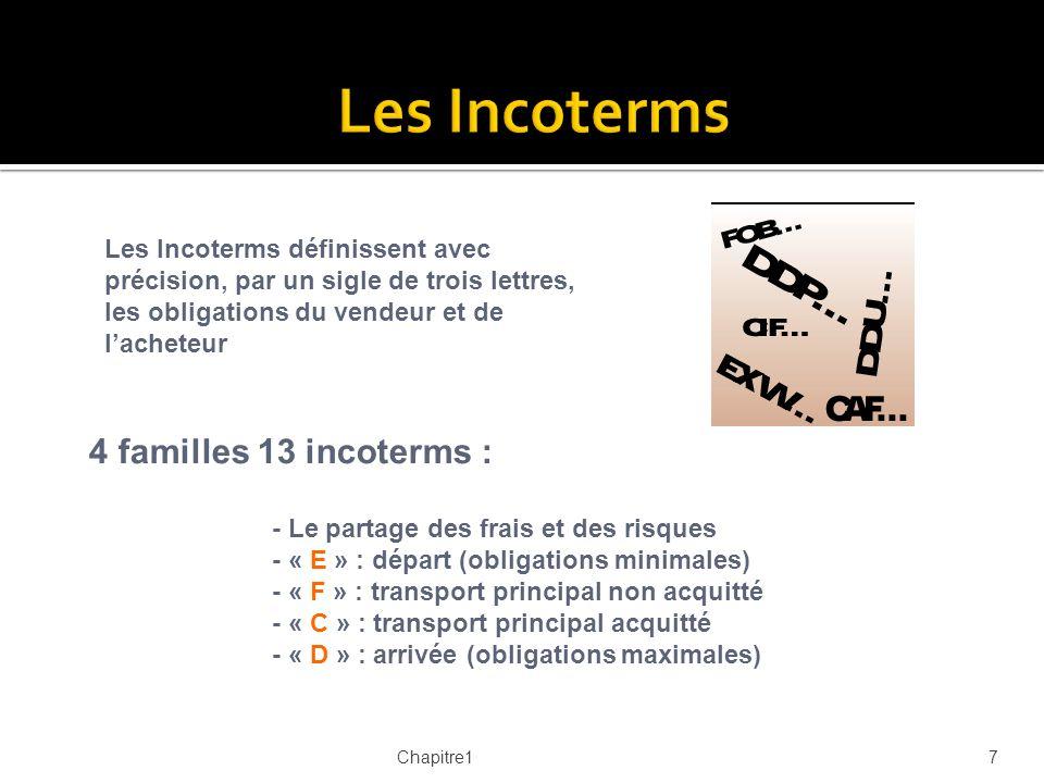Les Incoterms 4 familles 13 incoterms :