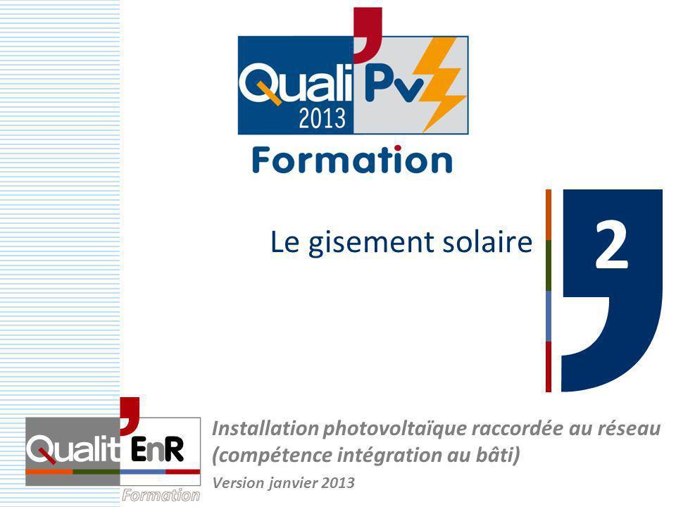 Le gisement solaire 2. Installation photovoltaïque raccordée au réseau (compétence intégration au bâti)