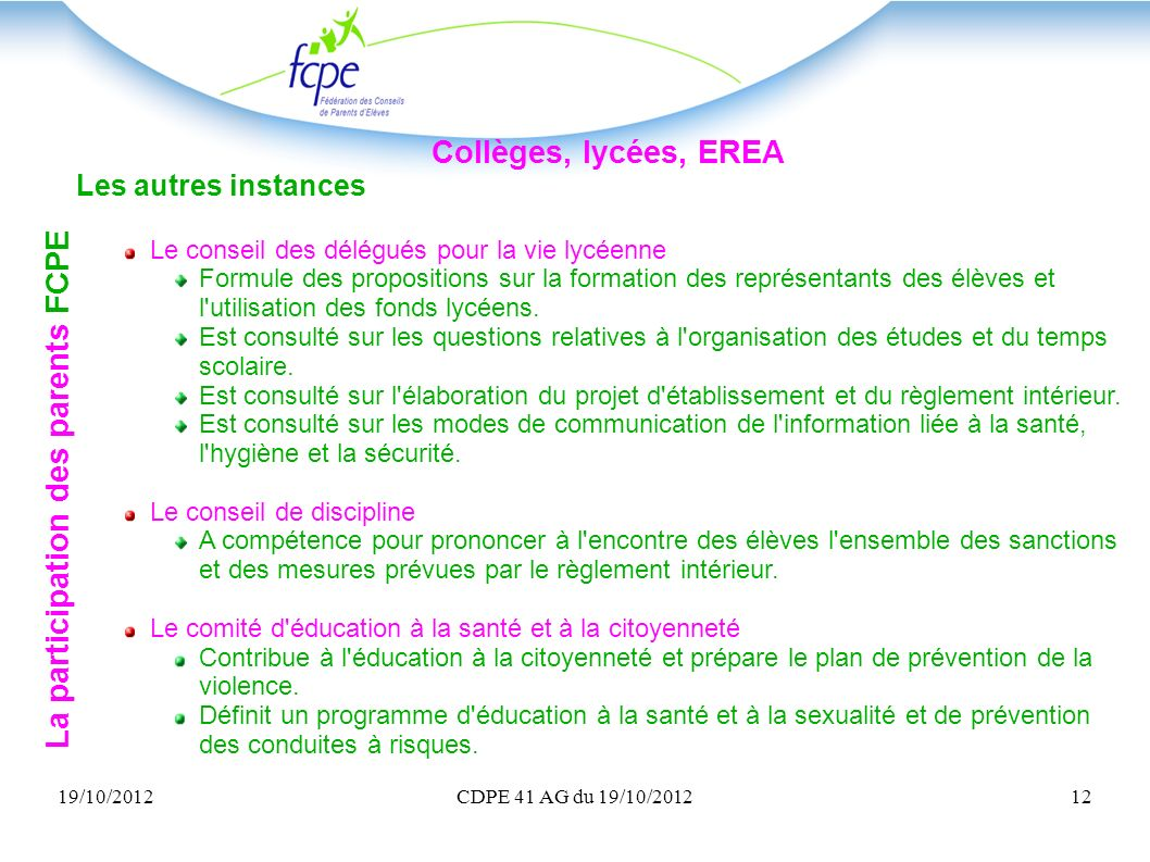 La participation des parents FCPE