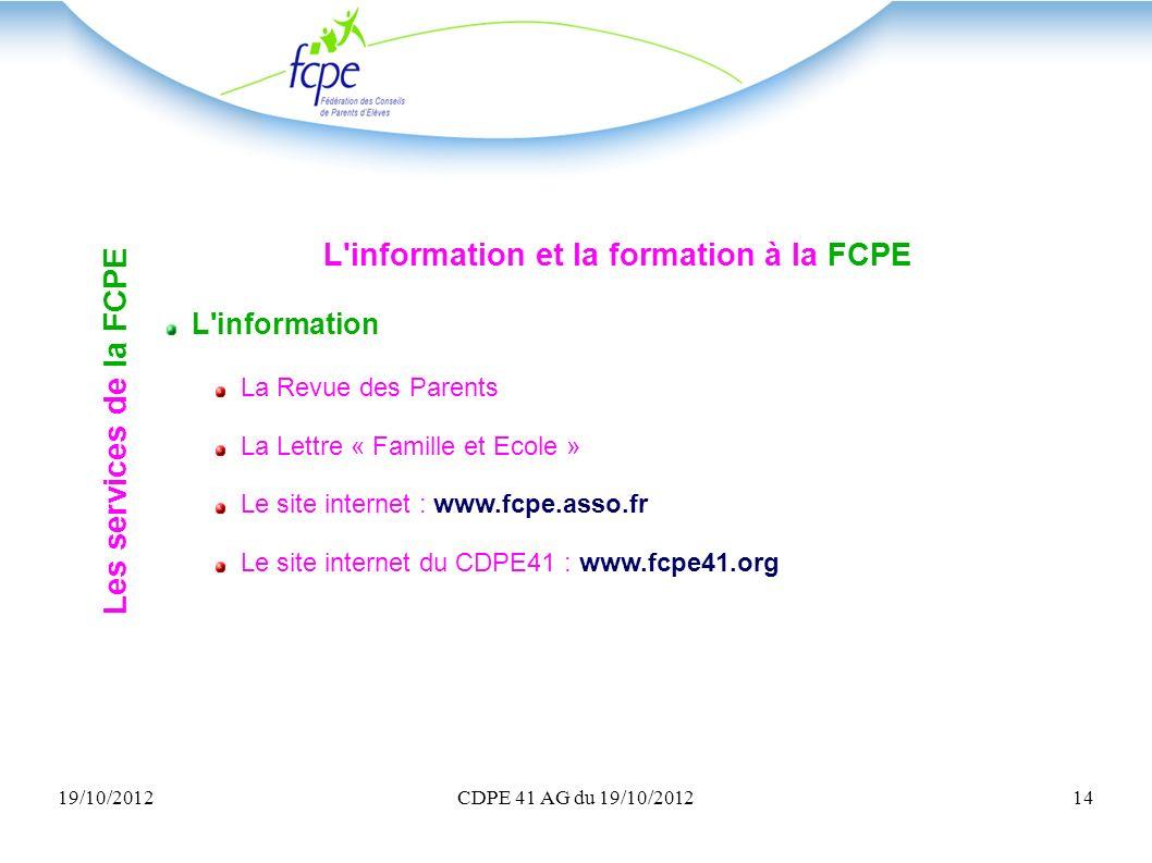 L information et la formation à la FCPE