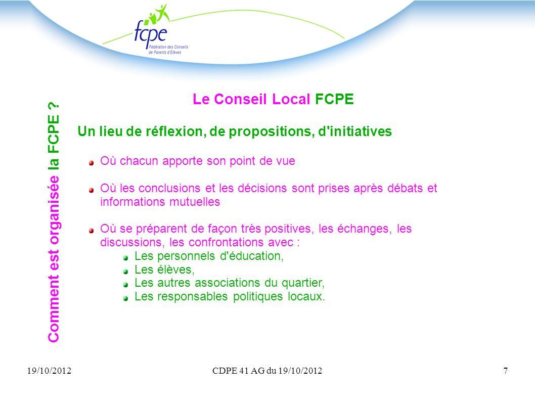 Comment est organisée la FCPE