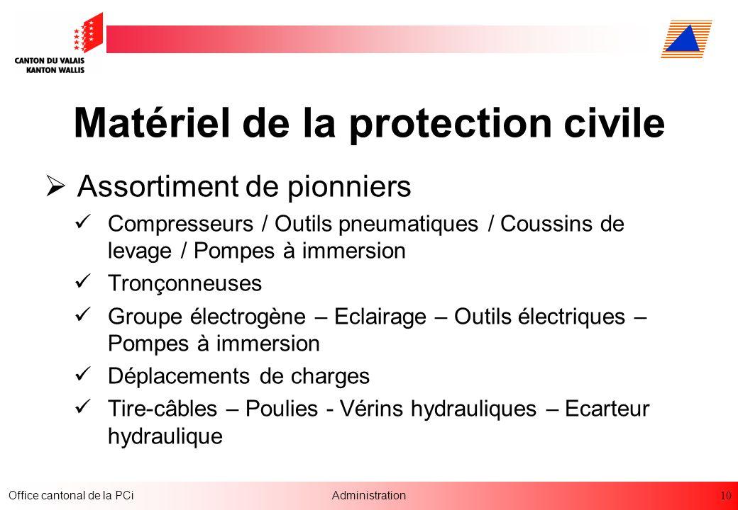 Matériel de la protection civile