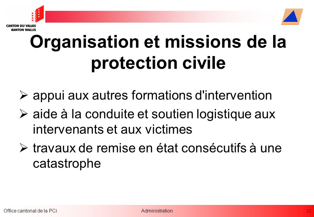 Organisation et missions de la protection civile