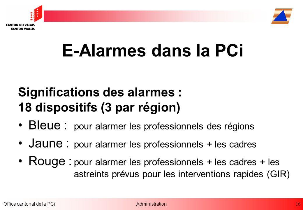 E-Alarmes dans la PCi Significations des alarmes : 18 dispositifs (3 par région) Bleue : pour alarmer les professionnels des régions.