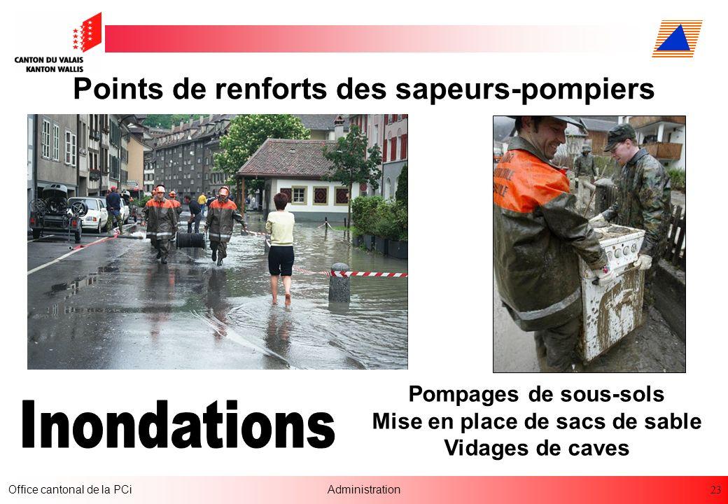 Points de renforts des sapeurs-pompiers Mise en place de sacs de sable