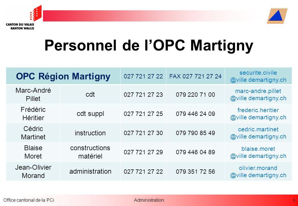 Personnel de l'OPC Martigny