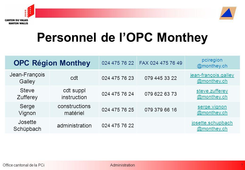 Personnel de l'OPC Monthey