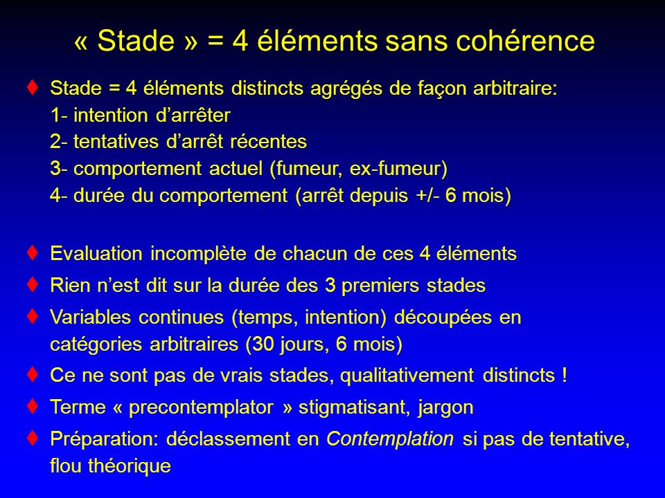 « Stade » = 4 éléments sans cohérence