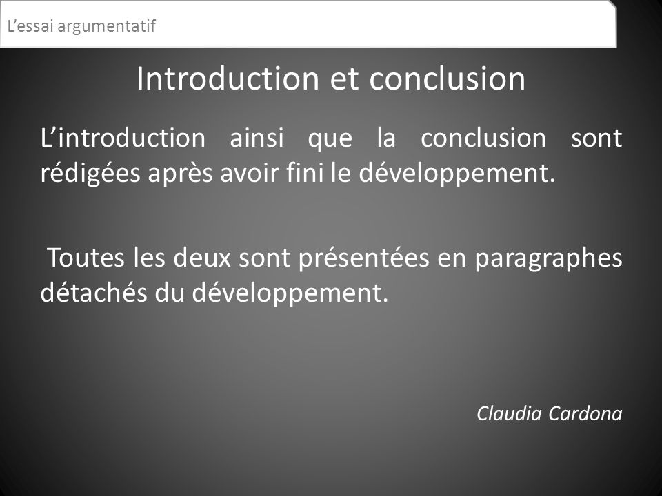 Introduction et conclusion