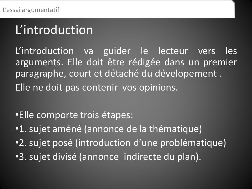 L'essai argumentatif L'introduction.