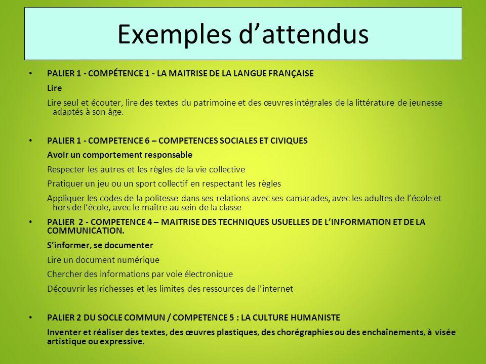 Exemples d'attendus PALIER 1 - COMPÉTENCE 1 - LA MAITRISE DE LA LANGUE FRANÇAISE. Lire.