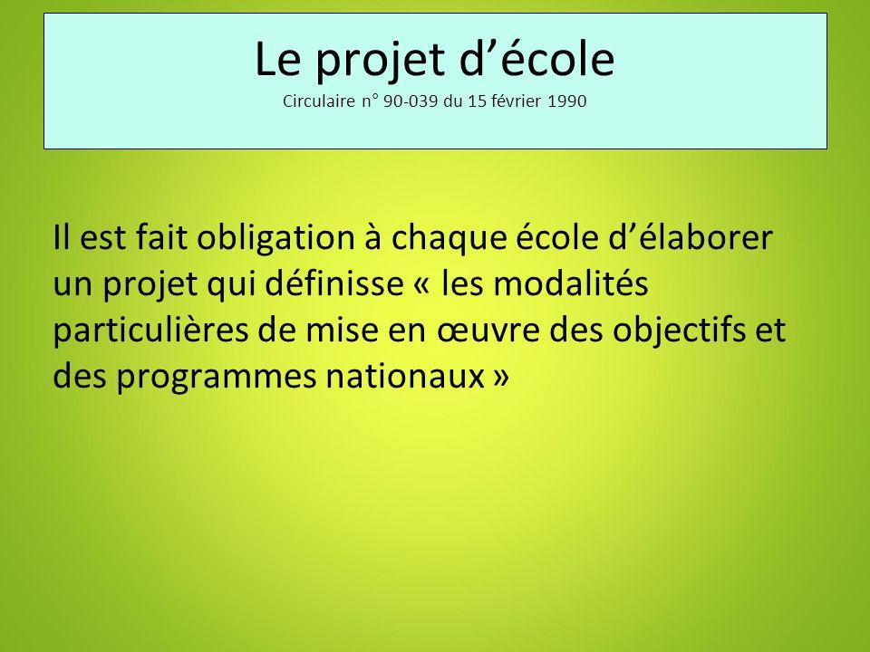 Le projet d'école Circulaire n° 90-039 du 15 février 1990