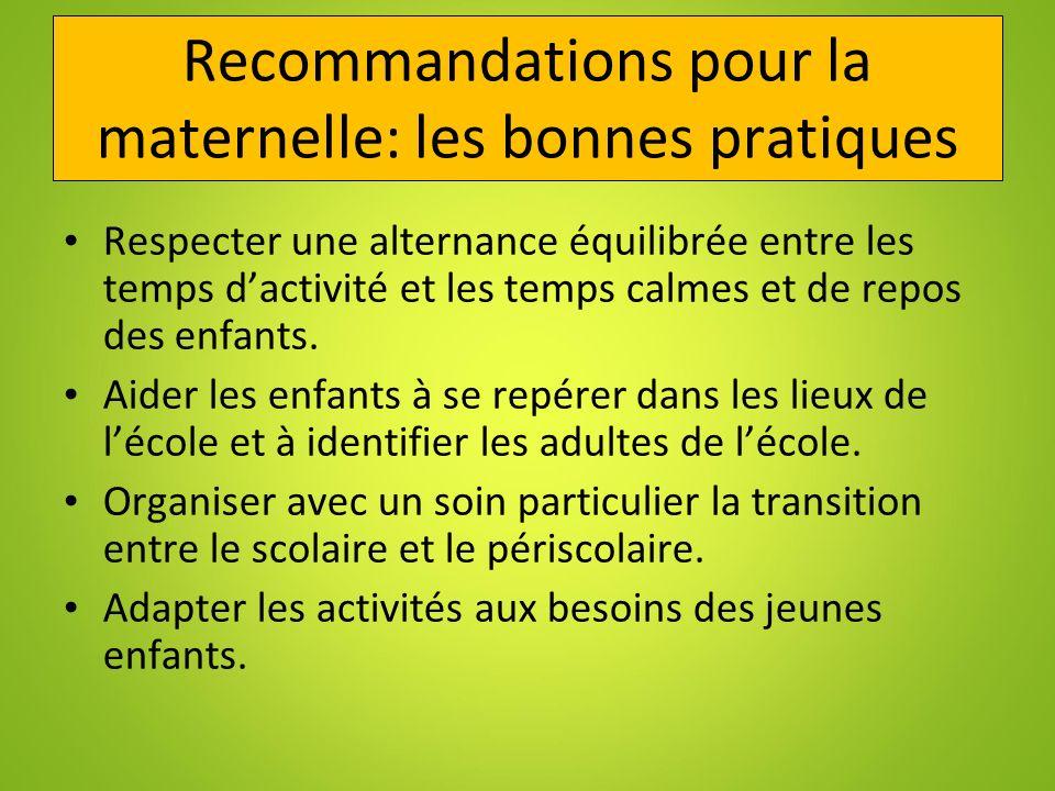 Recommandations pour la maternelle: les bonnes pratiques
