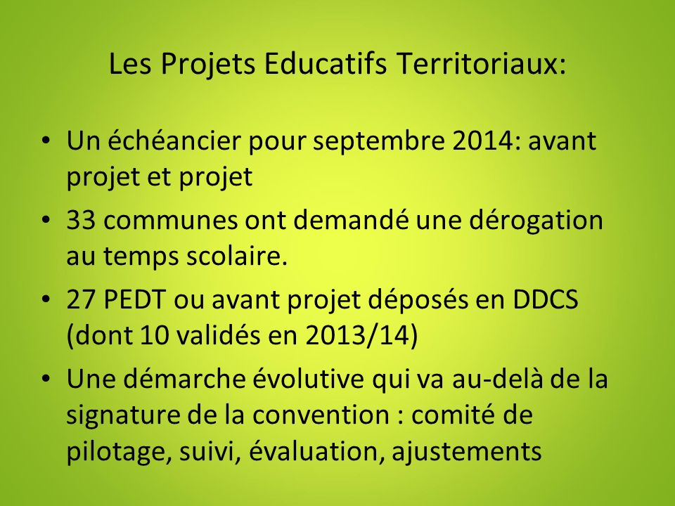 Les Projets Educatifs Territoriaux: