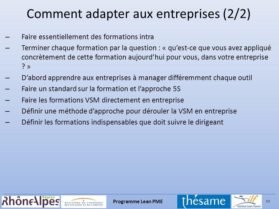 Comment adapter aux entreprises (2/2)