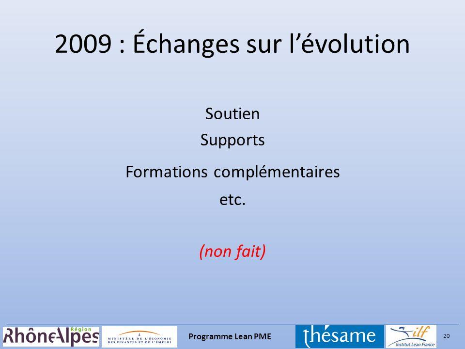 2009 : Échanges sur l'évolution