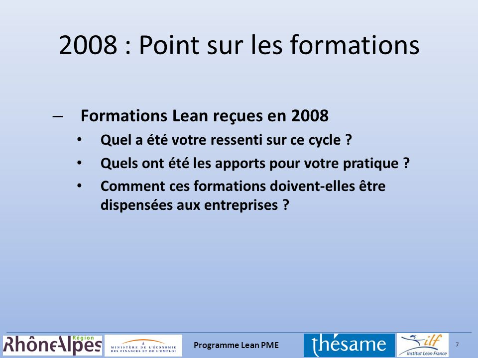 2008 : Point sur les formations
