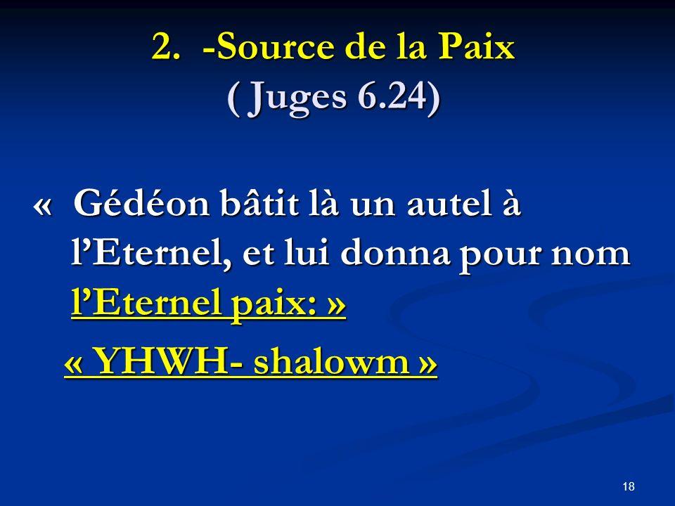 2. -Source de la Paix ( Juges 6.24)