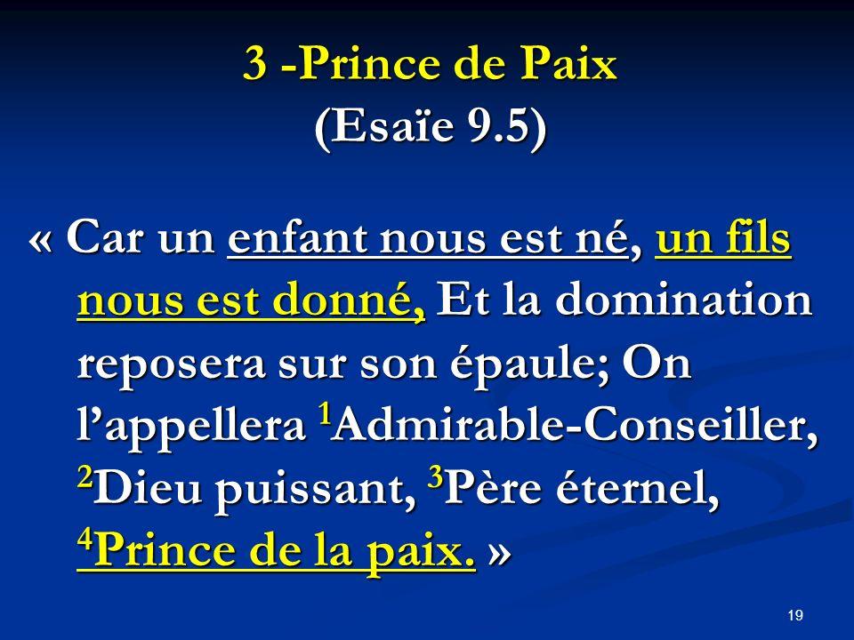 3 -Prince de Paix (Esaïe 9.5)