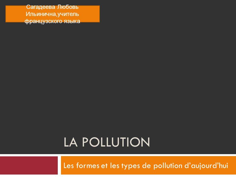 Les formes et les types de pollution d'aujourd'hui