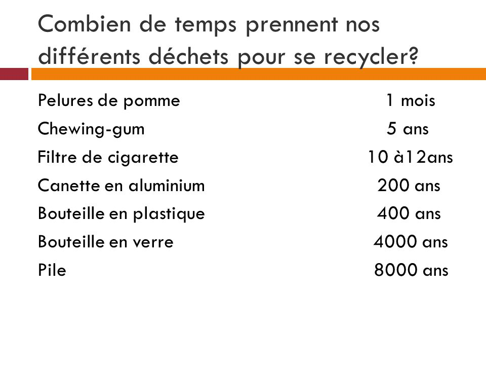 Combien de temps prennent nos différents déchets pour se recycler