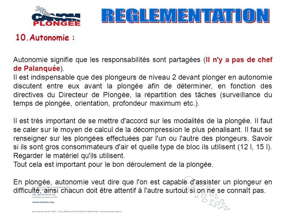 REGLEMENTATION 10.Autonomie :