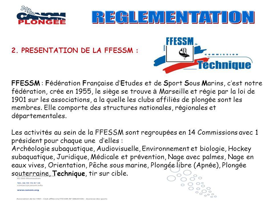 REGLEMENTATION 2. PRESENTATION DE LA FFESSM :