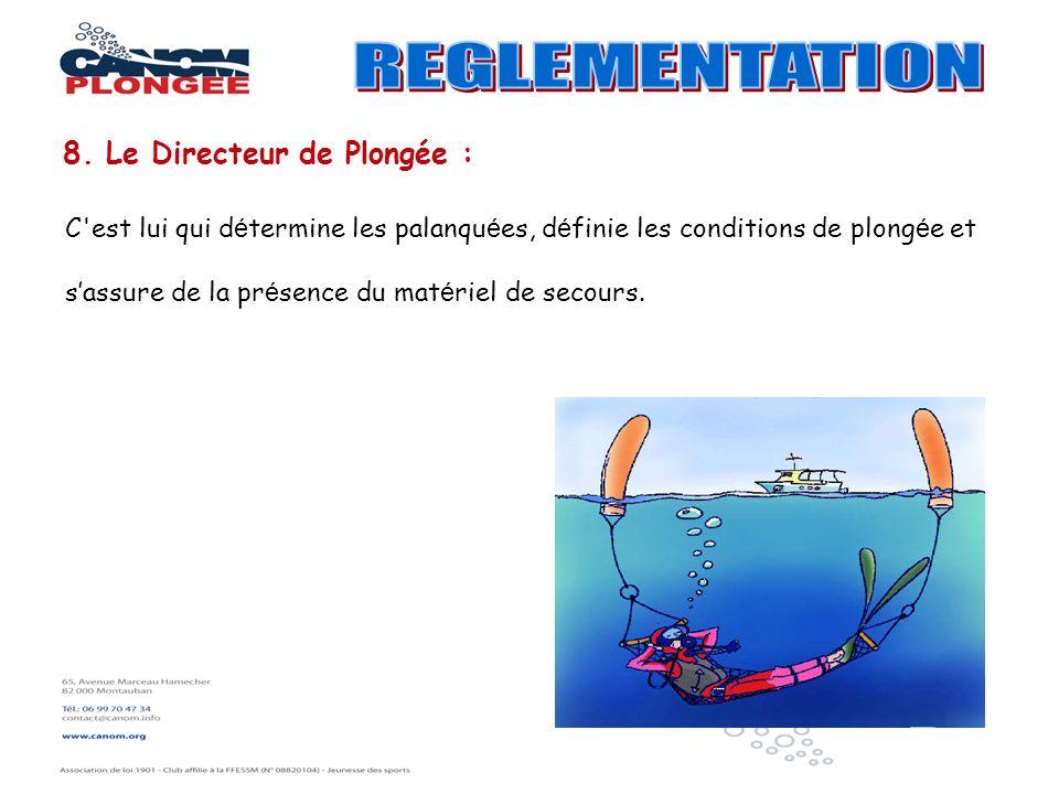REGLEMENTATION 8. Le Directeur de Plongée :
