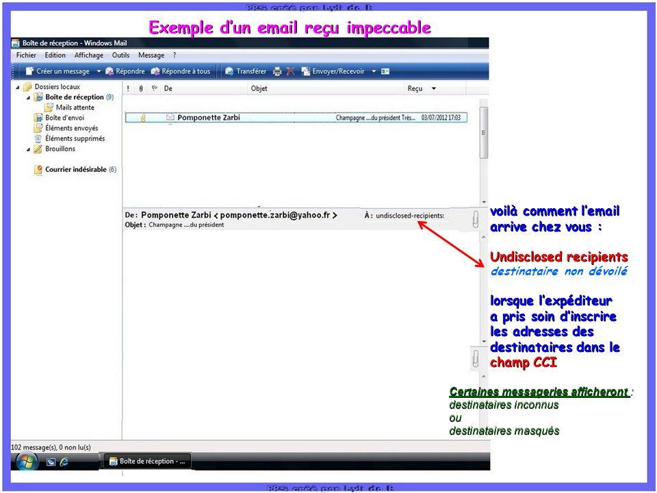 Exemple d'un email reçu impeccable