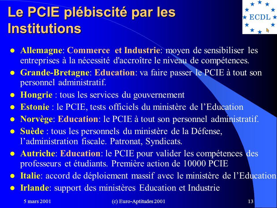 Le PCIE plébiscité par les Institutions