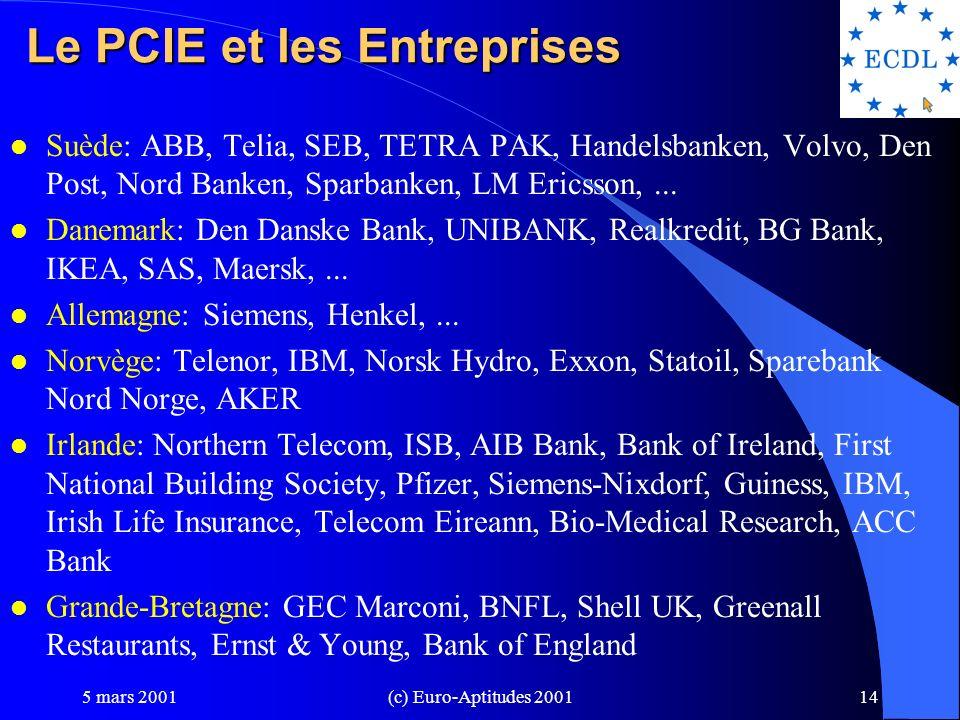 Le PCIE et les Entreprises