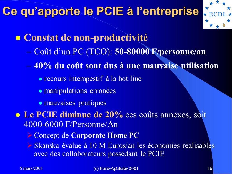 Ce qu'apporte le PCIE à l'entreprise