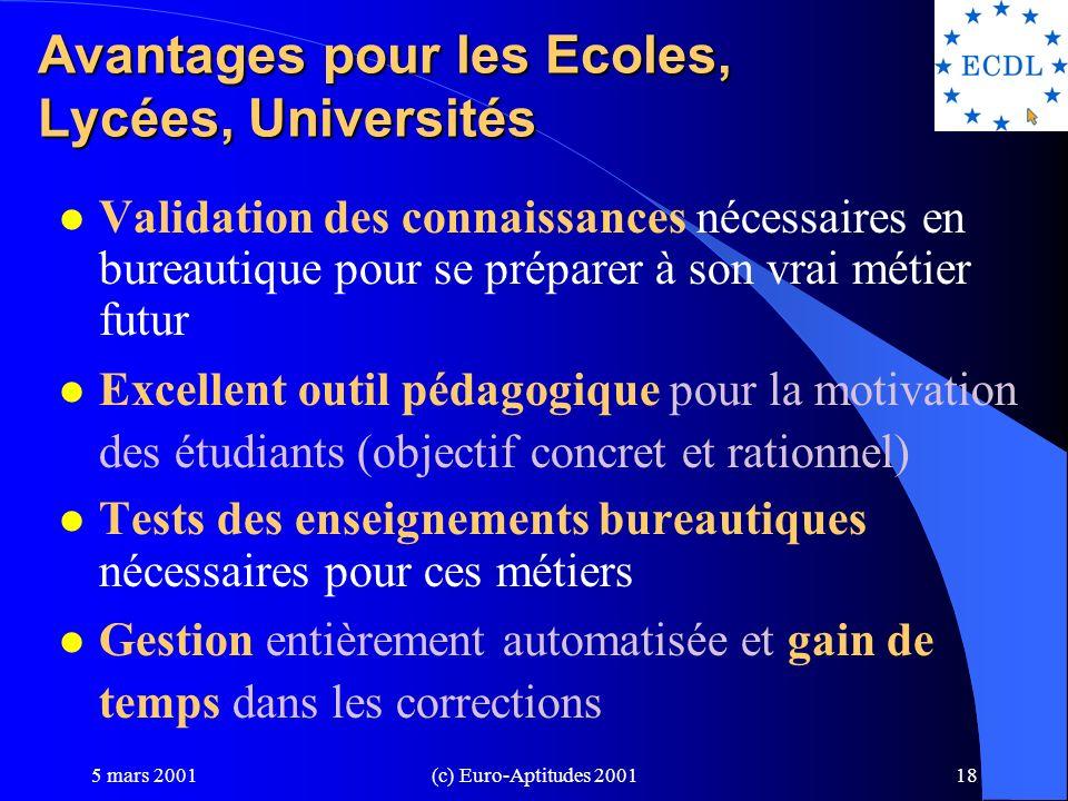 Avantages pour les Ecoles, Lycées, Universités