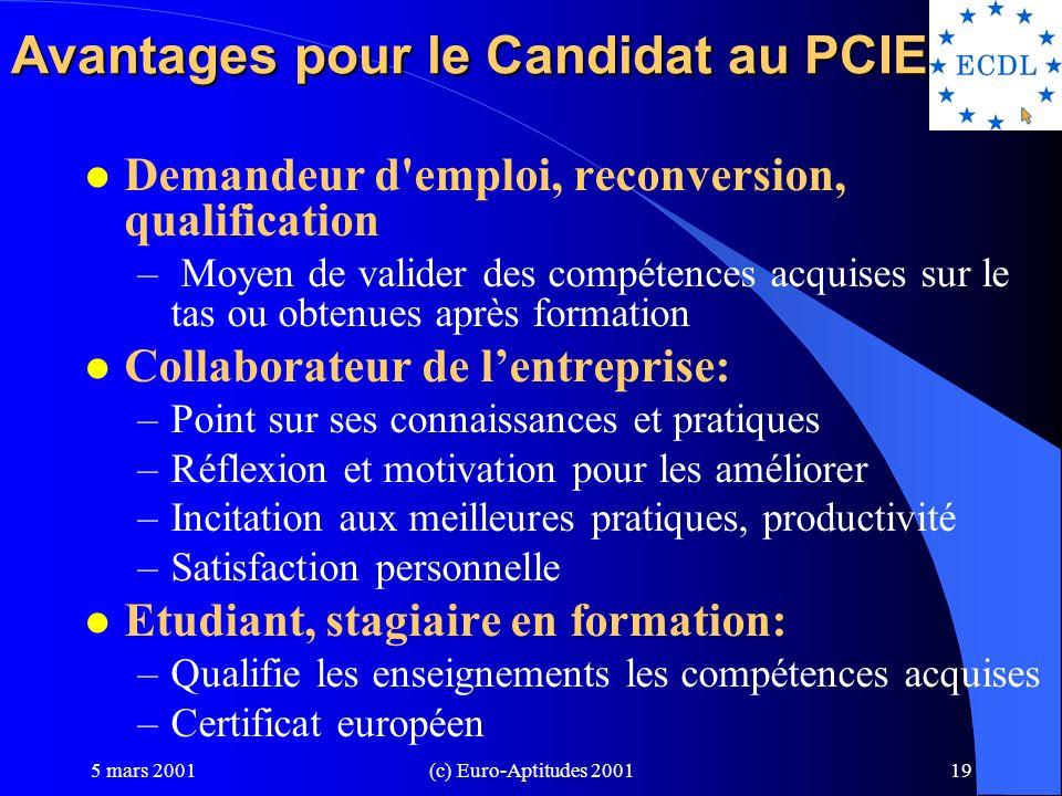 Avantages pour le Candidat au PCIE