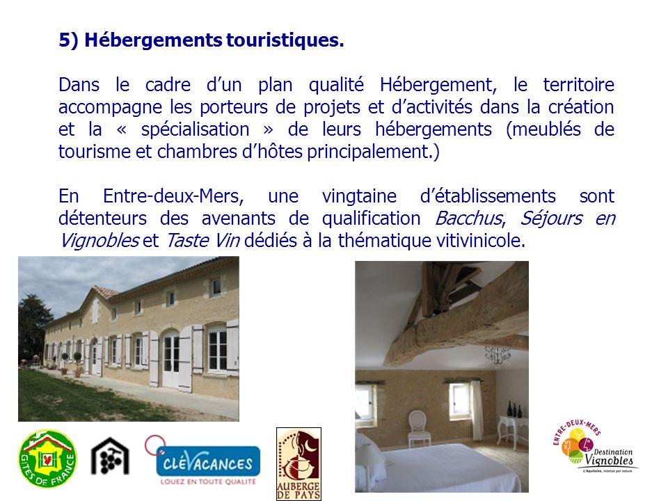 5) Hébergements touristiques.