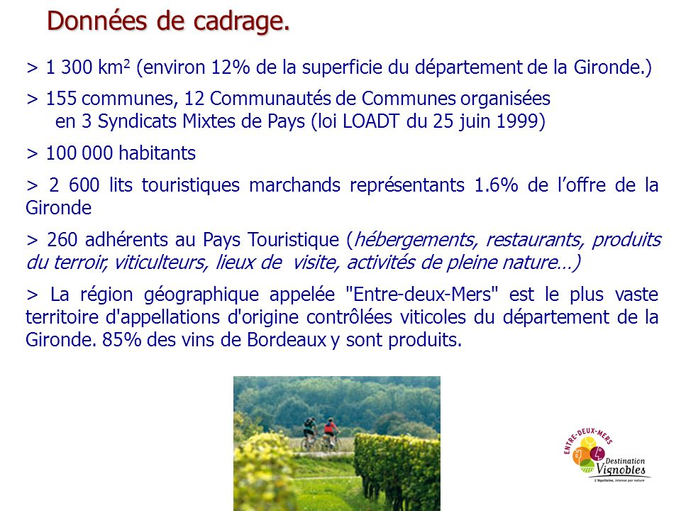 Données de cadrage. > 1 300 km2 (environ 12% de la superficie du département de la Gironde.) > 155 communes, 12 Communautés de Communes organisées.