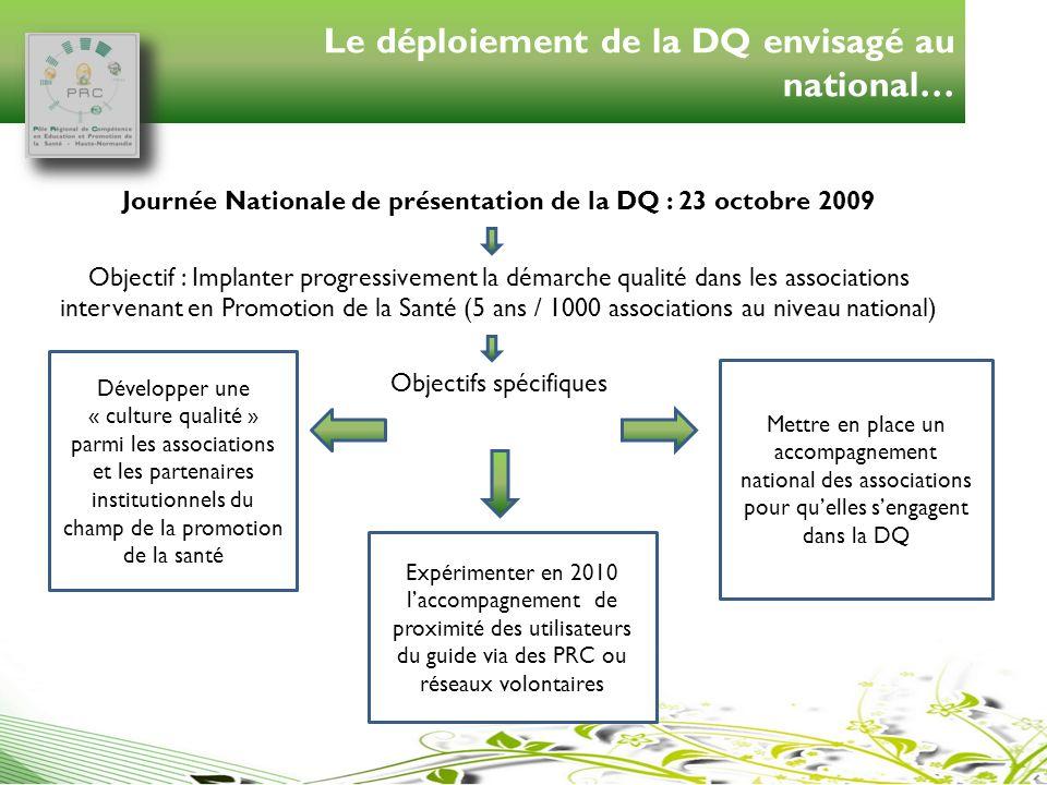 Le déploiement de la DQ envisagé au national…