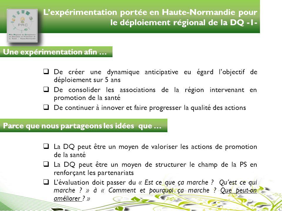 L'expérimentation portée en Haute-Normandie pour le déploiement régional de la DQ -1-