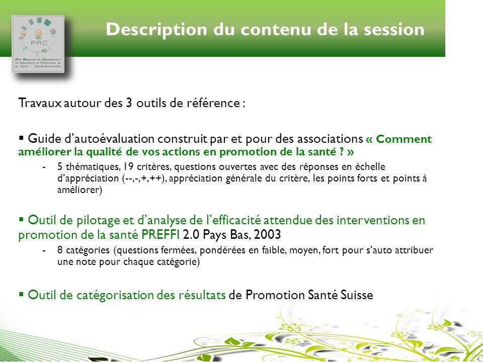 Description du contenu de la session