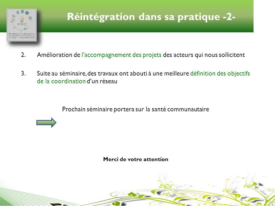 Réintégration dans sa pratique -2-