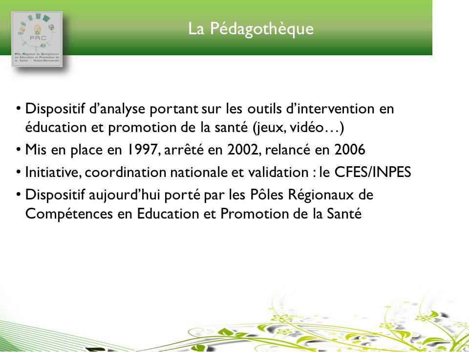 La Pédagothèque Dispositif d'analyse portant sur les outils d'intervention en éducation et promotion de la santé (jeux, vidéo…)