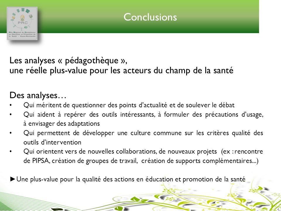 Conclusions Les analyses « pédagothèque », une réelle plus-value pour les acteurs du champ de la santé.