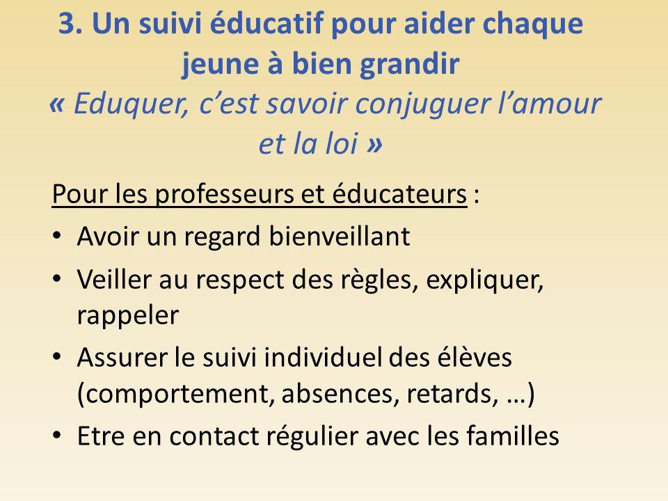 3. Un suivi éducatif pour aider chaque jeune à bien grandir « Eduquer, c'est savoir conjuguer l'amour et la loi »