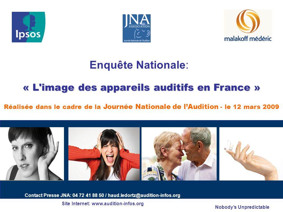 Enquête Nationale: « L image des appareils auditifs en France » Réalisée dans le cadre de la Journée Nationale de l'Audition - le 12 mars 2009.