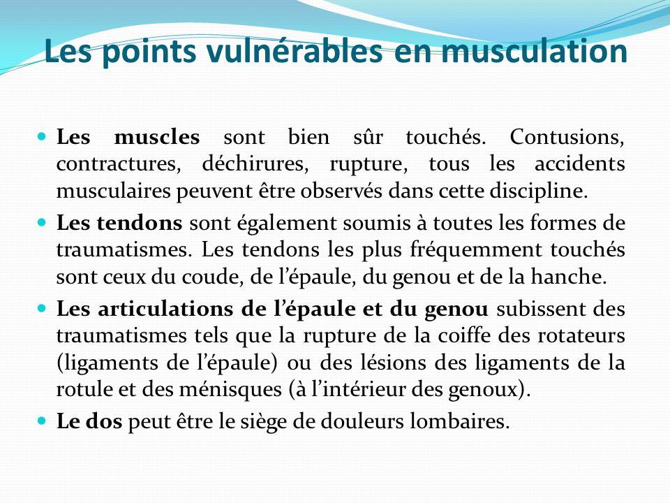 Les points vulnérables en musculation