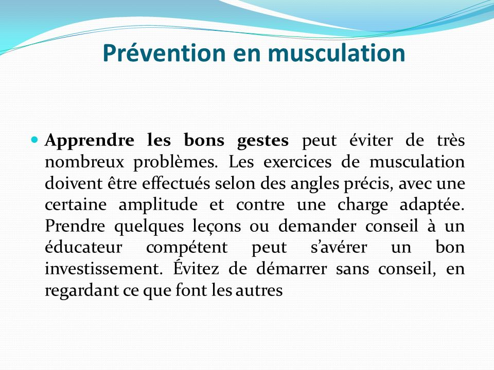 Prévention en musculation