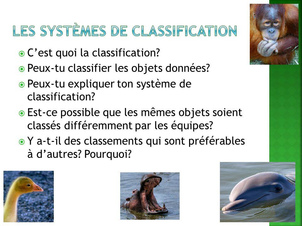Les systèmes de classification