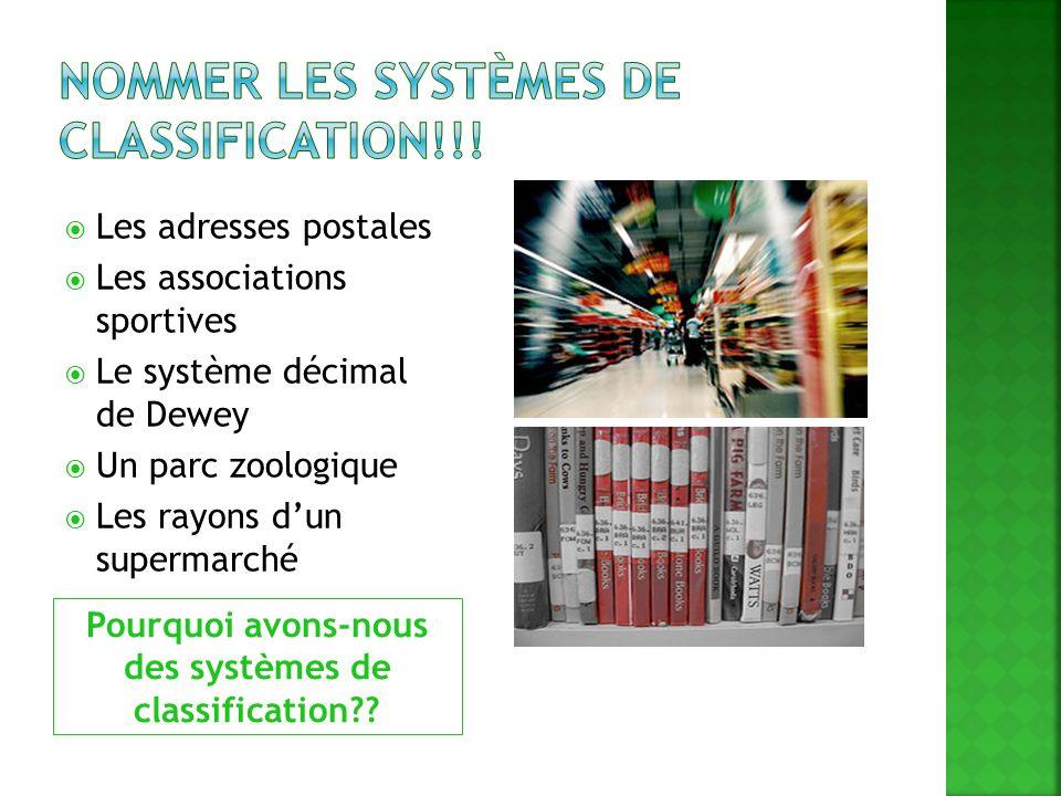 Nommer les systèmes de classification!!!